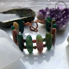 Fancy Jasper Copper Bangle Bracelet